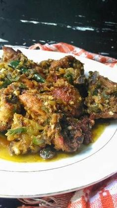 Ayam Goreng Lado Mudo Khas Padang (Ayam Cabe Ijo) Healthy Vegetable Recipes, Healthy Meals For One, Good Healthy Recipes, Healthy Chicken Recipes, Vegetarian Recipes, Cooking Recipes, Indian Food Recipes, Asian Recipes, Indonesian Cuisine