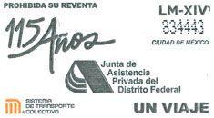 El 07 de julio, el Sistema de Transporte Colectivo emitió un tiraje especial de boletos para conmemorar 115 años de la Junta de Asistencia Privada del Distrito Federal.