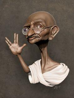 Caricatura de Gandhi - www.remix-numerisation.fr - Rendez vos souvenirs durables… More