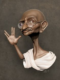 Caricatura de Gandhi - www.remix-numerisation.fr - Rendez vos souvenirs durables ! - Sauvegarde - Transfert - Copie - Restauration de bande magnétique Audio - Numérisation vidéo VHS, VHSC, SVHSC, Video8, Hi8, Digital8, MiniDv et Laserdisc
