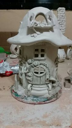 Air dry clay mushroom house