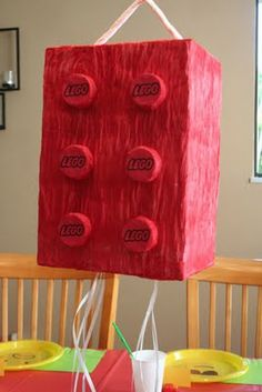 We should have seen this before celebrating Keith's birthday! Lego pinata