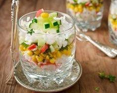 Verrines express au surimi, riz, maïs et concombre