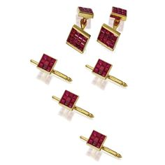 INVISIBLY-SET RUBY DRESS SET, ALETTO BROTHERS Comprising a pair of cufflinks and four studs, each link invisibly-set with square-cut rubies, mounted in 18 karat gold, signed Aletto Bros.