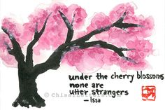 $36 Haiku and cherry blossoms original watercolor painting