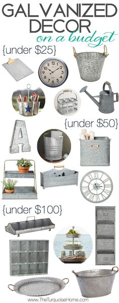 DIY Home Decor Ideas : Illustration Description Who doesn't love some cute galvanized decor and on a budget, no less! Bring some affordable farmhouse style into your home. Shabby Chic Decor, Rustic Decor, Farmhouse Decor, Farmhouse Budget, Rustic Style, Farmhouse Office, Industrial Farmhouse, Vintage Farmhouse, Country Style