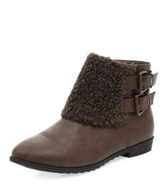 Brown Faux Shearling Strap Ankle Boot