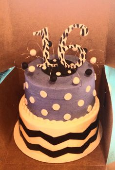 16th birthday cake, chevron, polka dots