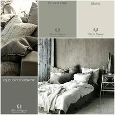 Bekijk de foto van Pure & Original met als titel MOODboard. Inspired BY COLOR With Pure & Original colors. Lime Paint, Chalk Paint and much more. Grey Bedroom Paint, Grey Paint, Bedroom Colors, Castle Stones, Messy Bed, Living Colors, Lime Paint, Traditional Paint, Modern Rustic Decor