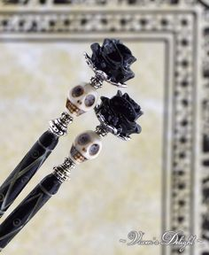 Antique Silver-Tone Pentagram Hair Stick w Purple Quartz