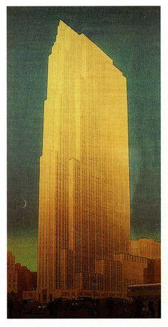 Building, Rockefeller Centre RCA Building, Rockefeller Centre 1931 painting by John Wenrich.RCA Building, Rockefeller Centre 1931 painting by John Wenrich. Architecture Drawings, Historical Architecture, Architecture Details, Building Drawing, Building Painting, Sculpture Art, Metal Sculptures, Abstract Sculpture, Bronze Sculpture