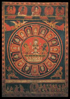 Chandra (Moon God) Mandala -  Tibetan: ཟླ་བ།  Chinese: 月神 - (item no. 89053) - Origin Location:	Nepal - Date Range:	1700 - 1799 - Lineages:	Buddhist - Material:	Ground Cotton - Collection:	Private