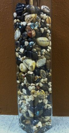 Inspiration stones used in a clear vase, you can find them at www.etsy.com/shop/CornerstoneRocks
