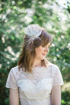 Mini Birdcage Veil With Pearls And Crystals Sweet Whimsy Small Bridal Wedding White Ivory Champagne Style 637