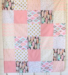 Baby Girl Blanket Minky Blanket Coral Crib by theredpistachio