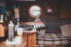 Life is all about being happy and cosy. by therollinghome Campervan Interior, Rv Interior, Interior Ideas, Interior Design, Vw Bus, Camper Van Life, Van Dwelling, Kombi Home, Van Design