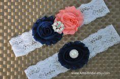 Peach garter Set,Navy Blue Garters,Dark Blue garters,Garters Sets,Peach toss Garter,Navy blue Wedding, Peach wedding, Custom garters, Garter $9.49