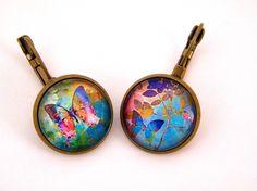 boucles d'oreilles dormeuses, métal bronze, verre, pièce unique, papillons