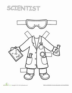 "Paper Dolls: Scientist If your child loves to ask ""why""?, she'll love this scientist paper doll.If your child loves to ask ""why""?, she'll love this scientist paper doll. Teaching Science, Science Activities, Classroom Activities, Space Activities, Science Education, Physical Education, Career Exploration, Career Education, Community Helpers Preschool"