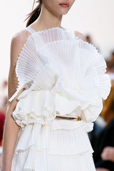 White ruffled dresses (Chloe S/S '13). folds, pleats, fabric manipulation, tucks, textiles, fashion design