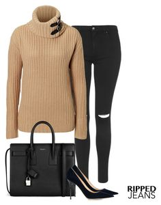 """rl sweater"" by jana-zed ❤ liked on Polyvore featuring Topshop, Ralph Lauren Black Label, Yves Saint Laurent, Jimmy Choo, yvessaintlaurent and ralphlauren"