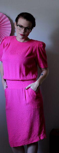 Vintage Pretty in Pink Dress // 1980's Liz Claiborne 100%