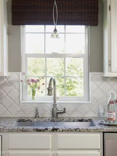 gray kitchen - Moroccan tile backsplash. that is similar to your granite too right?