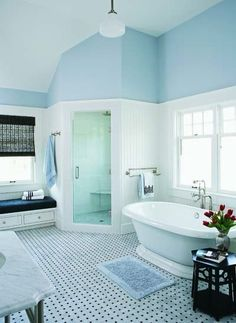 I just love the blue in this bathroom.