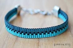 Ombre Teal Bracelet // Adjustable // Beaded Loom by Gomeow on Etsy, $17.95
