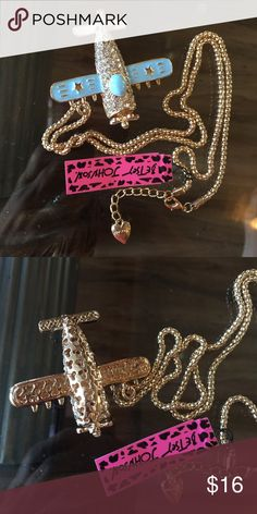 """Betsey Johnson Crystal Airplane necklace New New with tags. 28"""" chain. Next day shipping Betsey Johnson Jewelry Necklaces"""