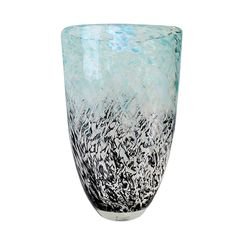 Grey and turquoise glass vase 12'' LK027158