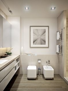 We all know Amazing Home design is really suitable for our Home. You can learn from our article (Small Apartment Design For Couples With White Color Scheme Ideas) and get some ideas for your Home design. White Apartment, Small Apartment Design, Minimalist Apartment, One Bedroom Apartment, Minimalist Bathroom, Modern Bathroom Design, Contemporary Bathrooms, Bathroom Interior, Ocean Bathroom Themes