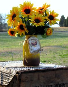 Sunflower floral arrangement, mason jar, painted mason jar, rustic wedding, decorated mason jar, centerpiece, gifts, country kitchen decor on Etsy, $29.50