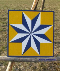 "Barn Quilt Patterns To Paint | This outdoor quilt is in ""bumble bee yellow"" & blue"