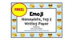 Super cute, emoji name tag, nameplate, and paper!Decorate your classroom with these AND my Emoji Book Bin Labels!Check them out! Your students will love them!