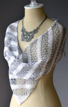 Free Knitting Pattern for Bias Stripe Scarf - An 8 row lace pattern (with wrong side rows just knit) alternates with stockinette in this elegant scarf. The only challenges might be that the bias requires decreasing and increasing on most rows and lace is charted. Use contrasting yarns for the best effect. Designed by Amy Gunderson for Universal Yarns.