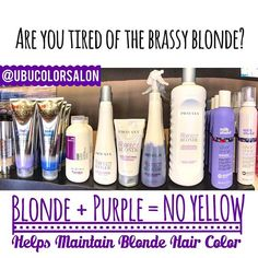 💜Are you tired of the Brassy yellow  blonde ?? We offer many Purple and blue Shampoos, conditioner and treatments.  It's a deep purple that distributes purple pigment to neutralize brassy yellow tones. USING Purple shampoo will NOT turn your hair Purple it's just toning down the Brassy hue to your hair. These Products will help you achieve more of a Ash platinum blonde color that everyone is always looking for!! #tag a FRIEND who needs this. And call salon for more info. 813.801.9700… Toning Blonde Hair, Blonde Hair Care, Ash Blonde Hair, Cool Blonde, Blonde Hair Products, Icy Blonde, Blonde Color, Ash Grey Hair, Ash Hair