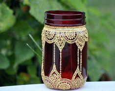 Conjunto de 6 tarro de masón marroquí Bohemia por HennaArtDiaries