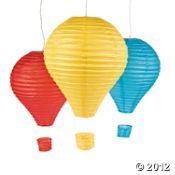 How fun are these hot air balloon lanterns.. A must-have for VBS 2012!