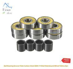 Ball Bearing Groove Tube Carbon Steel ABEC 7 Oiled Skateboard Wheels Yellow 8pcs    eBay