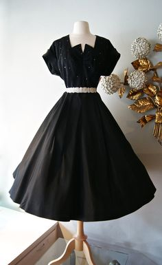 50s Dress / Vintage 1950s Black Cocktail Dress by xtabayvintage, $248.00