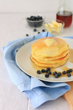 Star your morning off on a wonderfully Italian note: Ricotta Blueberry Pancakes. #pancakes #blueberry #ricotta #Italian #Italy #brunch #food #cooking