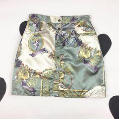 90s Satin Button Front Satin Romantic Photo Print Skirt / Size 14 / XL / Club Kid / High Waist / Cherubs / Cyber / Clueless / Plus Size / by badatpettingcats on Etsy