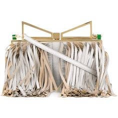 Sara Battaglia 'Lady' clutch ($1,463) ❤ liked on Polyvore featuring bags, handbags, clutches, grey, purses, clasp purse, grey handbags, metallic purse, grey fringe purse and gray purse