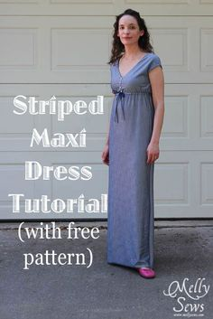 DIY Womens Clothing : Striped Maxi Sundress Tutorial by Melly Sews with free pattern