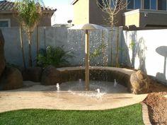 Ideas For Backyard Dog Playground Splash Pad, Small Yard Kids, Backyard Ideas For Small Yards, Small Backyard Landscaping, Backyard Patio, Backyard Designs, Big Kids, Backyard Water Parks, Backyard Water Feature, Backyard Splash Pad