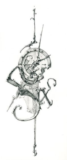 more solid lines though, but I really like this guy's stuff. Eric Freitas conceptual sketch for his clock art. His clocks are incredible, abstract, Steampunk-inspired, fluid works of art :) Clock Drawings, Tattoo Drawings, Body Art Tattoos, Sleeve Tattoos, Trendy Tattoos, Tattoos For Guys, Cool Tattoos, Tatoos, Design Tattoo