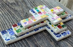 Custom Mosaics by PeaceByPieceCo Peace By Piece, Mosaic Crosses, Mosaics, Tile, China, Crafty, Dishes, Facebook, Glass