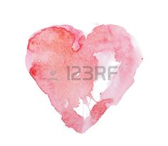 Aquarel aquarel hand getekend kleurrijke rode hart art kleur verf of bloed splatter vlek.