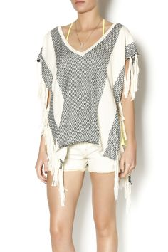 This v-neck vintage surf inspired poncho is a must for any boho beach babe! The poncho has braided ties on either side for an adjustable fit and fun fringe tassels! Take with you to beach outings.    Tassel Poncho by Vintage Havana. Clothing - Tops - Casual Clothing - Tops - Short Sleeve Clothing - Tops - Blouses & Shirts Louisiana